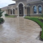 Sealed travertine paver stones