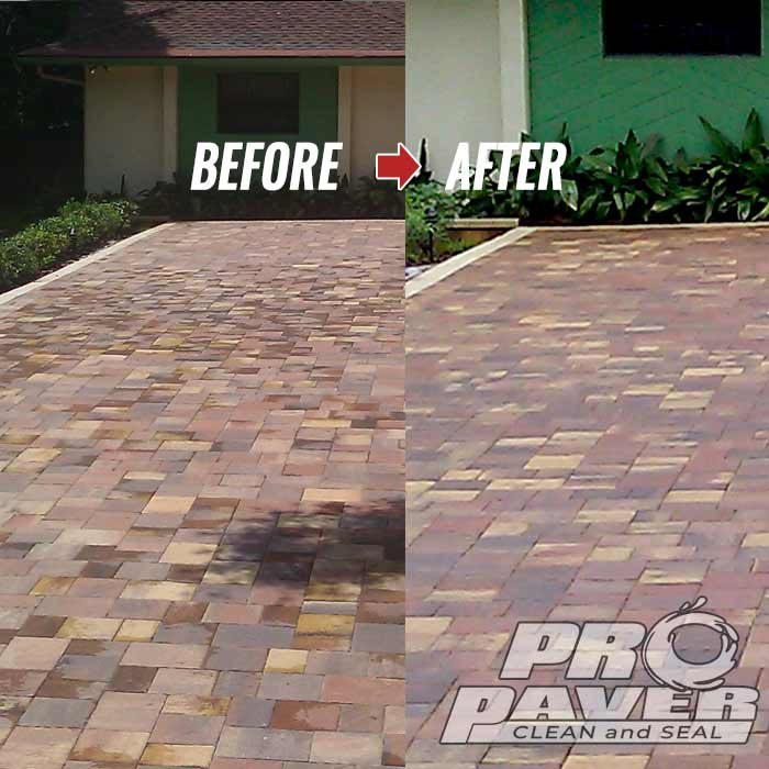 Tremron paver driveway after sealing with Seal n LockBefore After