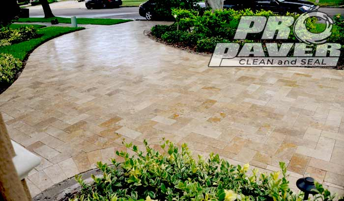 Travertine Driveway Cleaning & Sealing